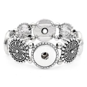 New Design Antique Silver Wide Noosa Chunks Metal Ginger 18mm Snap Buttons Bracelet Jewelry For Men & Women