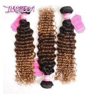 Brezilyalı İnsan Saç 1b 4 27 Ombre Derin Dalga Bakire Saç 3 Adet / grup Üç Ton Saç Atkı Çift Atkı Güzellik Örgüleri