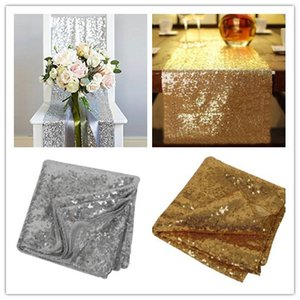 1pcs 30cm*275cm Silver Gold Color Sequin Fabric Table Runners Sparkly Bling Table Runner Wedding Party Decorations Supply Accessories