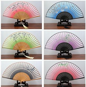 Women Silk Folding Hand Held Fan Chinese Style Double Bamboo Folded Fans for Dancing Cosplay Home Office Wall DIY Decoration 8.27