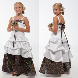 New Camo Flower Girl Dresses White And Camouflage Lace Up Children Princess Dresses A Line Floor length 2019 Wedding Kids Gowns For Party
