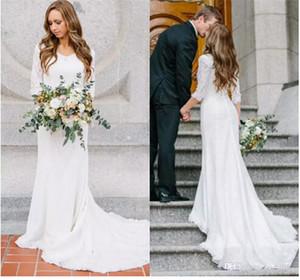 2017 겸손한 새로운 쉬어 긴 소매 시폰 Counrty 웨딩 드레스 레이스 탑 코트 트레인 신부 웨딩 드레스
