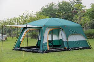 Ultralarge 텐트 대피소 대피 소 롯지 한 홀 2 베드룸 더블 레이어 6-12 사람 사용 야외 파티 가족 캠핑 텐트