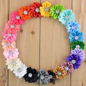 Mini nastro in raso tessuto fiore per fasce nastro fai da te poligonale fiori strass perla in centro accessori per capelli bambina 110 pz / lotto