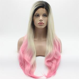Iwona Hair Straight Extra Long Dark Radice Light Blonde Pink Ombre Wig 22 # 1/60 / 3100B Mezza mano Legato resistente al calore parrucche sintetiche del merletto anteriore