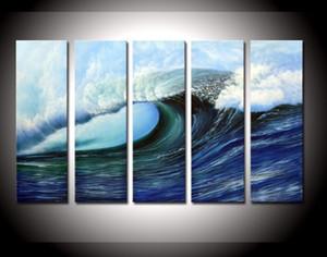Enmarcado, 5 paneles pintados a mano Moderno abstracto Enorme ola de mar PURE HAND PINTADO EN LONA DE ALTA CALIDAD pintura al óleo de varios tamaños -17