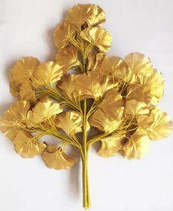 12 unids 60 cm Ginkgo Biloba Hoja Cinco Ramas Maidenhair Árboles Hojas Artificial Árbol de Seda Rama Tallo Jardín de La Boda decoración