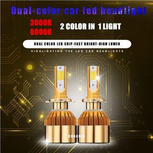 Супер яркий двойной цвет автомобиля H4 H7 H11 светодиодные фары комплект 880 9005 9006 1860 чипов замена 3000K 6000K H1 H3 9012 светодиодные лампы