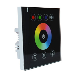 LED do painel de toque controlador Dimmer interruptor de parede montado Controlador para LED RGBW luzes de tira DC12V - 24V (Black)
