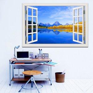 Удивительное Солнечное озеро и голубое небо декорации высокое качество 3D съемный стикер стены творческий вид из окна Home Decor