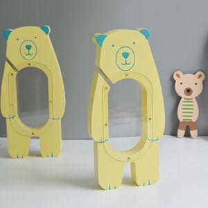 Venta al por mayor 1 pieza de madera artesanía forma de oso cajas de dinero de madera decoración de la habitación de los niños Piggy Bank Photo Prop