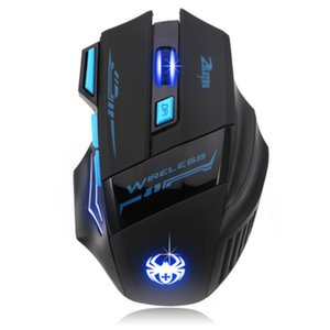 High Quality cordless game mouse 2400 DPI 7 buttons led back light game mice wireless mouse gaming mice black
