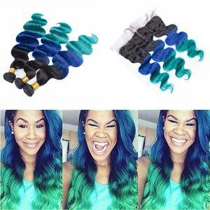 1B Mavi Yeşil Ombre İnsan Saç 3 Demetleri Ile Dantel frontal 4 Adet / grup Üç Ton ombre Vücut Dalga Saç Frontal Kapatma Ile Örgüleri
