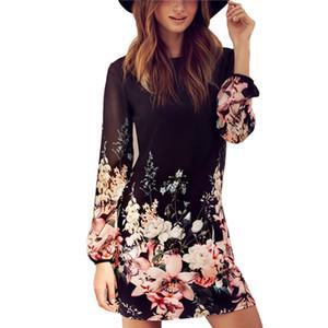 Al por mayor-Mujeres Sexy gasa manga larga cóctel Beach Summer Mini vestido patrón de flores vestido negro