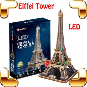 Chegada nova torre eiffel puzzles 3d modelo de construção de brinquedos led display led marca nacional diy jogo de aprendizagem decoração presente