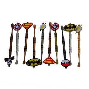 Venta caliente Cera Dabber herramienta con Pokeball Batman Capitán superhéroe Flash y Skull Design stickers cera jarra Dab herramienta 5 colores 120mm envío gratis