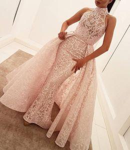 Abiti da sera formali indossare abiti da ballo a lungo partito Yousef Aljasmi Labourjoisie Overskirts Pageant Celebrity Dresses Arabo Pink Lace