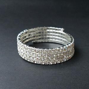 4 Reihen Hochzeit Braut Spirale Strass Kristall Stretch Armreif Silber Überzogen und Vergoldet Schmuck Zubehör für Frauen