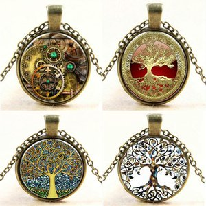 Wholesale-Steampunk Vintage Tree of Life Cabochon Bronze Glass Chain Pendant Statement Necklace Women Bijoux Femme Jewelry 2016 New