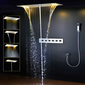 Chuveiro Termostático Set SUS304 Painel Do Espelho Com Cabeça de Chuveiro de LED 380x700 Névoa Chuva Spray de Coluna De Água Da Cachoeira