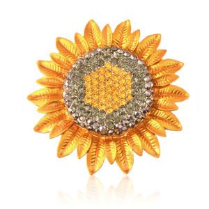 Broche del girasol de la boda del diamante artificial, broches del ramo nupcial del adorno, broche de la flor de plata de los artes de DIY