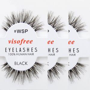Al por mayor- 12 pares de pestañas WSP pestañas 100% cabello humano hecho a mano pestañas falsas Ojos de la naturaleza sucia pestañas maquiagem por Visofree