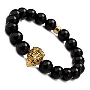 Joyería de moda Carnelian Lion Head Black Beads Pulseras Brazaletes Charm Pulsera de Piedra Natural Yoga Joyería Hombres Mujeres Regalo