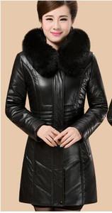 جاكيتات للنساء الشتاء المرأة جلد الغنم حقيقي سترة معطف فو فوكس الفراء قبعة المرأة سترة جلدية A370