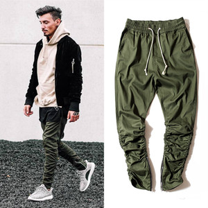 Cotton pants for men elastic waist Slim Skinny Trousers with zipper Legs Trousers   Elasic Wasit Fold Legs Cargo Pants Army Green Black