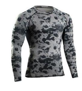 2017 NUEVO Hombre Ropa de Gimnasio Camiseta de Manga Larga de Compresión de Fitness Hombres Camiseta Body Workout Ropa Camuflaje Culturismo Desgaste