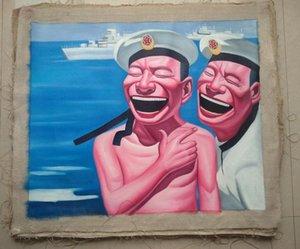 Encadré Sourire visage # 007, Pure Handcraft Portrait art peinture à l'huile Sur Toile de haute qualité pour décor mural en Multi tailles