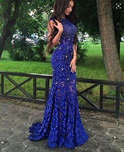 New Fashion Luxury Palace Royal Blue Prom Dress Lace ragazze economici graduazione Banchetto Evening Party Gown Custom Made Plus Size
