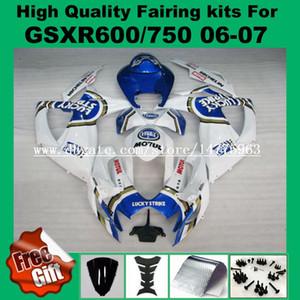 Обтекатели для Suzuki GSXR600 06 07 GSXR750 системы GSX-R600 о системы GSX-750 рандов 2006 2007 синий белый лаки страйк GSXR 600 750 06 07 К6 обтекатель комплект +9gifts