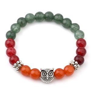 Mix Farbe Naturstein Jade Armbänder Für Frauen Tibetischen Silber Eule Armbänder Armreifen Vintgae Indien Naturstein Perlenschmuck 6