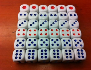 D6 15mm White 6 Sided Dice Red Blue Point Normal Dice Bosons Bar High Quality Dices Drink Game Casino Craps Party Playing Dices #N47