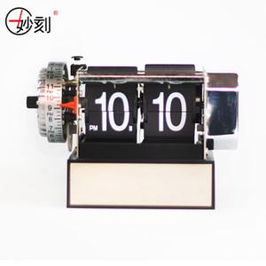All'ingrosso-MIAO KE 2017 automatico Flip Clock in acciaio inossidabile interno Gear Novità tavolo digitale RetroClocks per la decorazione domestica