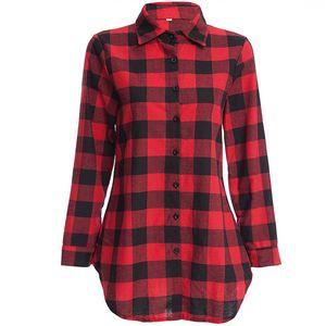Kadın Ekose Gömlek Sıcak Satış RedBlack Pamuk Kadınlar Bahar Bluz Fanila Uzun Kollu damalı gömlek için Tops