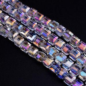 Navio livre NOVO 500 pcs AB Facetado Suqare Cristal De Vidro Soltos Spacer Beads Para Fazer Jóias 4mm 6mm 8mm