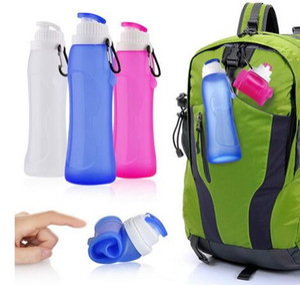 Food Grade 500ML Creativo Plegable Plegable Bebida de silicona Deporte Botella de agua Camping Viaje mi botella de bicicleta de plástico