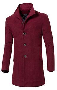 Wholesale- Abetteric Abetteric Stand Collar Woolen Long Trench Pea Coat Windbreaker Jacket