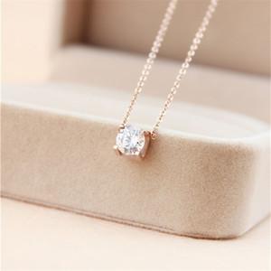 316L acier titane meilleur collier pendentif prix avec Super Cute Lucky One gros diamant carré pour les femmes cadeau mariage bijoux PS5032