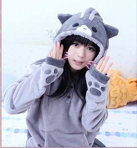 Wholesale- Hoodies Frauen Herbst-Winter-Zip-Ohr-Katze Pullover Kapuzen-Sweatshirt Mantel Frauen Tracksuits lange Hoodie