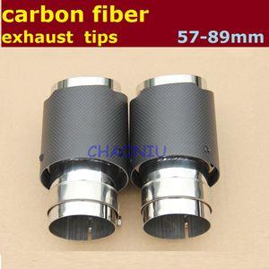 10 قطع ألياف الكربون الفولاذ المقاوم للصدأ العالمي سيارة العادم تلميح 57mm89mm akrapovic نظام العادم سيارة ل bmw vw