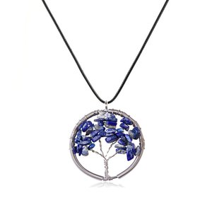 Original New Regenbogen 7 Chakra Baum des Lebens Quarz-Anhänger Halsketten Frauen Naturstein Wisdom Tree Halskette Schmuck Geschenk