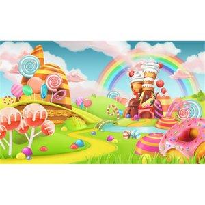 Candy Land Fotografía de vinilo Telones de fondo Rainbow Baby Recién Nacido Fiesta de cumpleaños Fondo Estudio Photo Booth Wallpaper Prop