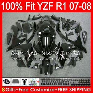 8Gifts 23Colors Iniezione per YAMAHA YZF1000 YZFR1 07 08 YZF 1000 37HM1 YZF-R1 07-08 YZF-1000 YZF R 1 YZF R1 2007 2008 Carenatura Lucido nero