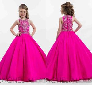 Abiti da spettacolo per ragazze vestite da sfilata di colore rosa caldo principessa per ragazzi Lunghezza da terra Abiti da ballo per bambini convenzionali con bordino con strass