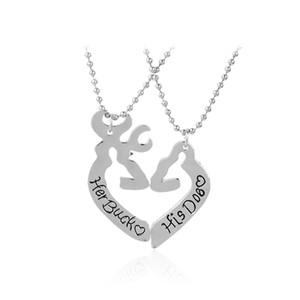 Ihr Buck seine Doe Deer Jagd Halsketten Liebe Herz minimalistischen Hollow Herzform Tier Valentinstag Paare Geschenk Liebhaber Schmuck