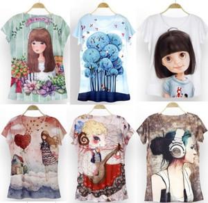 Nueva novedad exótica Nuevo estilo Impresión digital en 3D de manga corta Camiseta casual en 3D Camiseta de niña Blusa suelta en la parte superior XS-M