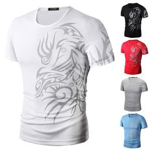Erkek Moda Spor T-Shirt Gömlek Kısa Kollu O Boyun Ejderha Baskı Süper Elastik Slim Fit İyi Kalite T Gömlek TX70 R